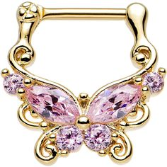 "16 Gauge 5/16"" Pink CZ Gold Anodized Ornate Butterfly Septum Clicker"