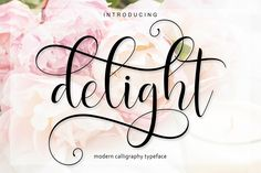 """What a Beautiful script font! Glyphs are absolutely gorgeous in this swirly font! No wonder it's called """"Delight Script"""""""