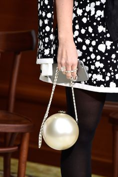 Miroslava Duma, bag detail, attends the Chanel show as part of the Paris Fashion Week Womenswear Fall/Winter 2015/2016 on March 10, 2015 in Paris, France.
