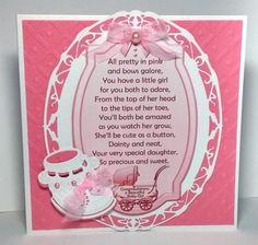 "Two more of my verse toppers. This sheet is for the birth of a baby girl. Toppers print out at approx 7.5""x 5"" I have also made a couple of extra brad type embellishments to go with each verse. Use these on the card front, insert or decorate the envelope or use as a seal. It's up to you. Get out all your crafty stash and start creating wonderful cards to welcome a new little baby into the world! Also available are toppers for baby boys. I have other verse toppers for other occas..."