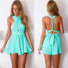 Sexy Crossover Backless Deep V-neck Solid Color Jumpsuits Sexy Outfits, Sexy Dresses, Summer Outfits, Short Dresses, Cute Outfits, Fashion Outfits, Fashion Trends, Xenia Dresses, Look Plus Size