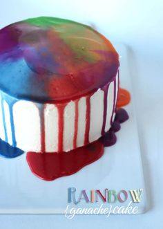 Easy Rainbow Ganache Cake | Cookies and Cups