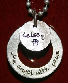 Custom cat memorial pendant My angel with paws by iiwiiemporium
