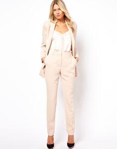 0f7d11c1fa8b Definitely want this look from Asos - nude suit + silk cami Mango Premium  Tailored Trouser