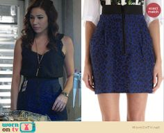 Angela's blue leopard print skirt and lace top on Bones Fashion Tv, Cute Fashion, Fashion Outfits, Artist Fashion, Fashion Trends, Stylish Outfits, Cute Outfits, Leopard Print Skirt, Lace Tank