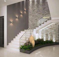 Inspire-se nestas fantásticas escadas para construir a sua!Corredores e halls de entrada por ACE INTERIORS Interior Design Your Home, Modern House Design, Interior Ideas, Brick Interior, Hall Interior, Interior Stairs Design, Modern Stairs Design, Modern Railing, Apartment Interior