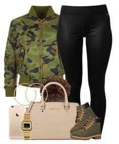 """""""Camouflage."""" by livelifefreelyy ❤ liked on Polyvore featuring WearAll, adidas, MICHAEL Michael Kors, Timberland, Casio, Melissa Odabash and plus size clothing"""