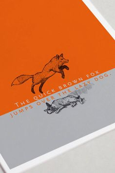 "Postkarte, Fuchs, Hund, ""The quick brown fox jumps over the lazy dog"" Windows Xp, Alphabet, Jump Over, Grad Cap, Graphic Design Studios, Clever Design, Gd, Illustration, Lazy"