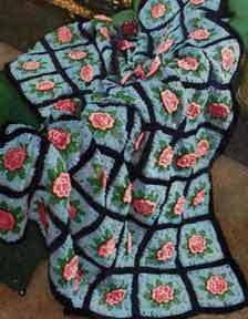 Charleston Garden Afghan - Crochet granny squares and crochet flowers make up this vintage crochet afghan