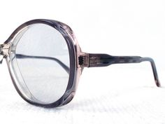 vintage deadstock 60s round eyeglasses frame acetate glasses eyewear translucent crystal clear mauve blush detailed accent men women NOS 213 by RecycleBuyVintage on Etsy