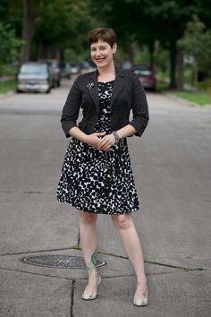 Already Pretty outfit featuring polka dot blazer, graphic print dress, snakeskin pumps, rhinestone brooch, rhinestone bracelet