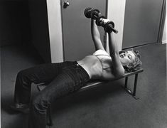 Marylin doing weights. 1952