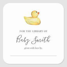 Baby Shower Bookplate Rubber Duck Sticker