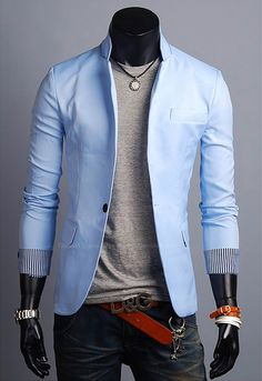 Elegant One-Botton Stand Collar Pure Color Casual Suit For Men (LIGHT BLUE,M) China Wholesale - Sammydress.com