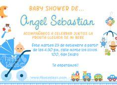 Invitacion de baby shower con juguetes y trencito de colores