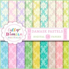 80% off Damask Pastels digital paper scrapbook pink by LillyBimble
