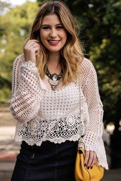Look do dia: saia jeans + blusa crochê — Niina Secrets