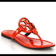 Tory Burch Flame Red Miller Patent Leather Sandals 100% Authentic  