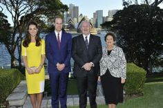 Pleased to greet you: Governor-General Peter Cosgrove and wife Lady Lynne Cosgrove welcome the royal couple to Admiralty House