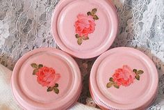 shabby chic pink mason jar lids painted and rose by sparkklejar, $14.00