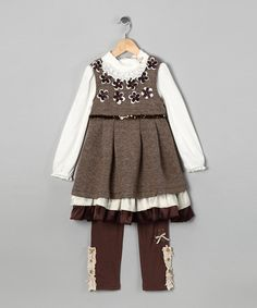 Take a look at this Brown Flower Dress Set - Toddler & Girls by Bijan Kids on #zulily today!