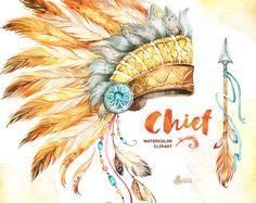 Chief. Indian Headdresses, Dreamcatcher and Arrow. Watercolor Clipart. Tribal, feathers, diy, invitation, boho, native america, warbonnet