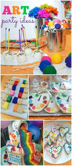 How fun is this colorful and vibrant art carnival party! See more party ideas at CatchMyParty.com!