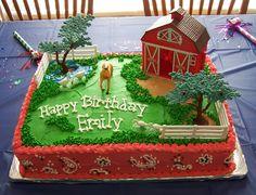 would make an awesome Breyer Horse cake Horse Birthday Parties, Cowboy Birthday, Farm Birthday, Birthday Cakes, Animal Birthday, Farm Animal Cakes, First Communion Cakes, Farm Cake, Horse Cake