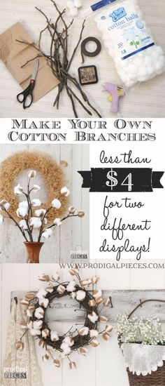 Best Country Decor Ideas - DIY Cotton Branches - Rustic Farmhouse Decor Tutorials and Easy Vintage Shabby Chic Home Decor for Kitchen, Living Room and Bathroom - Creative Country Crafts, Rustic Wall Art and Accessories to Make and Sell Casas Shabby Chic, Vintage Shabby Chic, Shabby Chic Homes, Vintage Decor, Vintage Crafts, Easy Home Decor, Handmade Home Decor, Country Crafts, Country Decor
