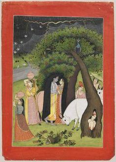 Krishna and his favorite shelter from a storm Varsha Vihara Indian, Pahari, about 1825 #MFA