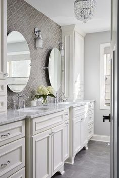 In this master bathroom suite, a spacious vanity allows for his & hers sinks with ample counter space and storage capabilities for both individuals to use. Marble Bathroom Floor, Bathroom Flooring, Small Bathroom, Master Bathroom, Bathroom Vanities, Marble Bathrooms, Bathroom Canvas, Bathroom Vanity Makeover, Shiplap Bathroom