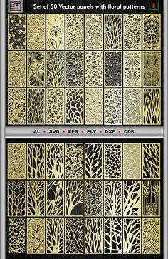 Set of 50 vector interior decorativ panels flower pattern Laser Cut Panels, Laser Cut Metal, Metal Panels, Autocad, Room Divider Screen, Room Screen, Adobe Illustrator, Corte Plasma, Machine Cnc