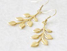 Gold Leaf Earrings  Olive Branch Earrings  by SmittenKittenKendall, $18.00