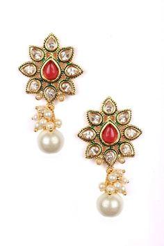 Indian Bollywood New Kundan Pearl Ruby Gemstone Gold Style Earrings Jewelry  #vidhijewelss #DropDangle