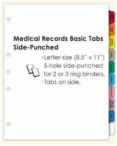Medical Records Index Tabs 10 Tab Set