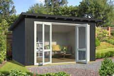 Garden Sheds Uk, Tongue And Groove Walls, Bbq Hut, Concrete Garages, Timber Roof, Getaway Cabins, Outdoor Spaces, Outdoor Decor, She Sheds