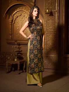 Black and olive palazzo suit - G3-WSS00421 | G3fashion.com