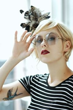short blonde hair with red lipstick