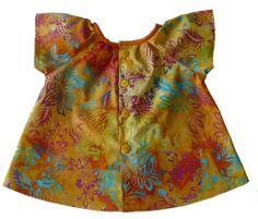 Blouse pour fille 6 mois en batik orange aux motifs hawaïens : Mode Bébé par kikoune-kids