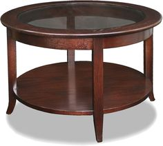 Leick Solid Wood Round Glass Top Coffee Table - Chocolate Oak $215.00