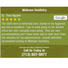 The staff here is extremely nice. Denise is my hygienist and she is excellent. I use to...