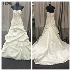 Sample Sale | Evalines Bridal Call and ask about 23598 today! This wedding gown is simple yet dramatic with the pick up skirt!