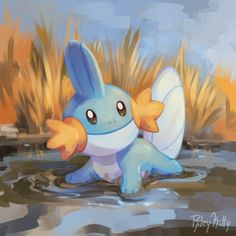 Mudkip relaxes in the marshlands after romping around in the shallows
