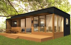 Prefab Home Model: miniHome Duo 36 + Size: 726 sq ft. BR: BA: a lovely plant. I'd make a few changes but not much. Could the flat roof be a patio? Modern Tiny House, Tiny House Living, Tiny House Design, Small House Plans, Modern Prefab Homes, Modular Homes, Prefab Tiny Houses, Prefab Homes Canada, Small Prefab Homes