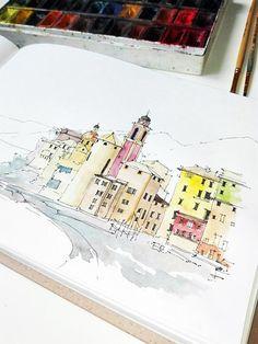Tirage aquarelle _ORIGINAL. Voici une vue magnifique de Camogli en Italie). L'illustration est faite à l'aquarelle et liner sur du papier simple carnet de croquis. Taille - 16 * 24cm (9, 5 * 6, 3 pouces) _I aime beaucoup cette photo. Je tiens à partager avec quelquun qui aime vraiment