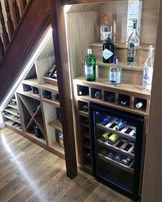Bar Under Stairs, Under Stairs Wine Cellar, Storage Under Stairs, Closet Under Stairs, Wine Cellar Basement, Basement Bar Designs, Home Bar Designs, Basement Ideas, Staircase Storage