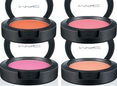 A coleção de blushTrès Cheek, da M.A.C: Vermelho alaranjado, rosa azulado brilhante, rosa brilhante e pêssego brilhante