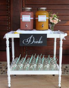 Best baby shower table set up ideas drink stations Ideas - Drink station ideas Bridal Shower Tables, Bridal Shower Decorations, Baby Shower Table Set Up, Baby Shower Drinks, Bridal Shower Mason Jar Favors, Wedding Decorations, Shower Set, Shower Favors, Tea Trolley