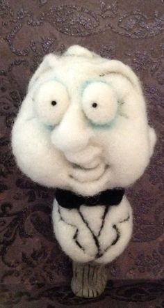 Ghost bust ooak needle felted art doll by papermoongallery on Etsy, $95.00