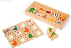 Janod Farm memory game `One size Awards : Best Toy Award Details : Memory, 40 piece(s), Made in France design Age : Age 2 and upwards Fabrics : Wood Box: Length : 27,5 cm, Width : 12,2 cm, Height : 3,7 cm. Room 5 x 5 cm. http://www.comparestoreprices.co.uk/january-2017-7/janod-farm-memory-game-one-size.asp